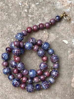 Domrai Handmade Ceramic Bead Necklace in Ablaze Italian Blue