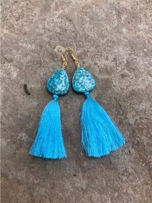P'Kgar Tassel Handmade Ceramic Earrings In Turquoise