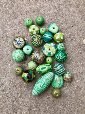 Handmade Ceramic Bead Bundle in Greens