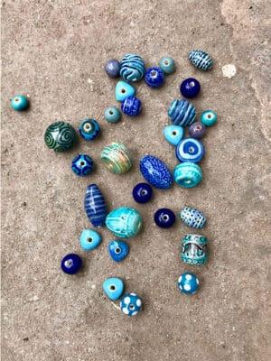 Blue Handmade Ceramic Bead Bundle