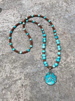 Diva Handmade Ceramic Bead Necklace in Turquoise Blue