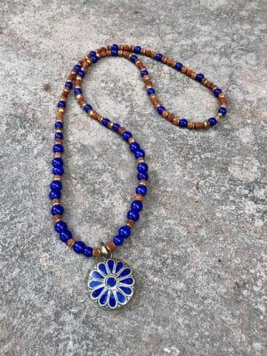 Diva Handmade Ceramic Bead Necklace in Royal Blue