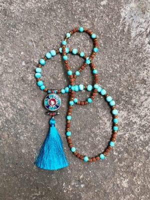 Rani Handmade Ceramic Bead Necklace in Copper Blue