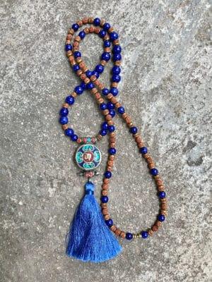 Rani Nepali Pendant & Ceramic Bead Necklace in Deep Federal Blue