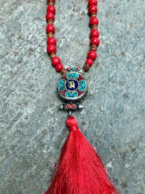 Rani Handmade Ceramic Bead & Nepali Pendant Necklace in Red