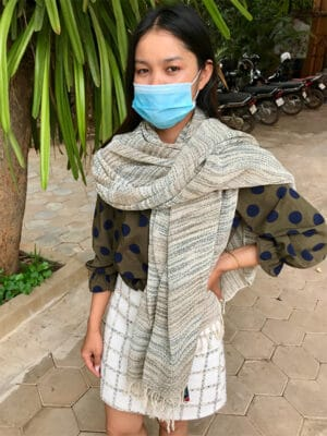 Hand-Loomed Kapok Scarf/Towel/Wrap in Blue
