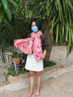 Handloomed Silk Scarf in Dusty Rose Pink
