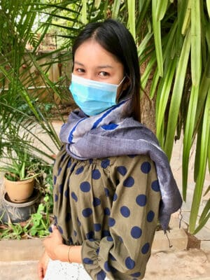 Hand-Loomed Silk Scarf in Graphite Grey & Blue
