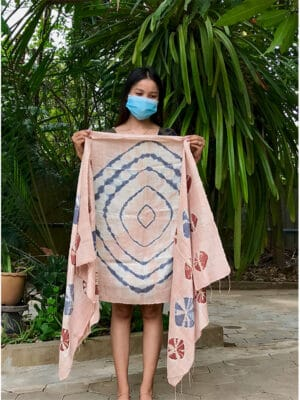 Hand-Loomed Silk Scarf in Mushroom Pink