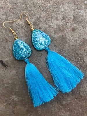 P'Kgar Tassel Handmade Ceramic Earrings in Indigo Blue