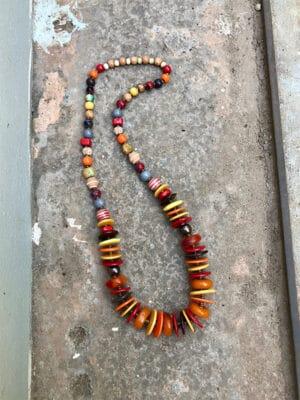 India  Artisan Ceramic & Copal Bead Necklace